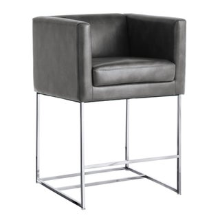 Grey Leather Cube Counter Height Stool