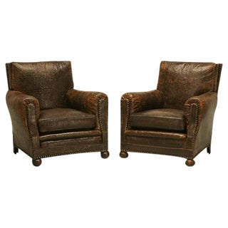 Crocodile Embossed Leather Club Chairs - A Pair