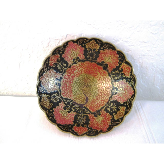 Indian Brass & Enamel Peacock Bowl - Image 2 of 8