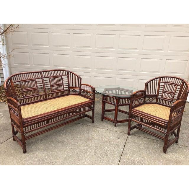 Vintage Brighton Bamboo Wicker Furniture Sofa - Set of 3 - Image 2 of 11