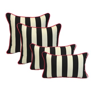 Black White Stripe Pink Cording Pillows - Set of 4