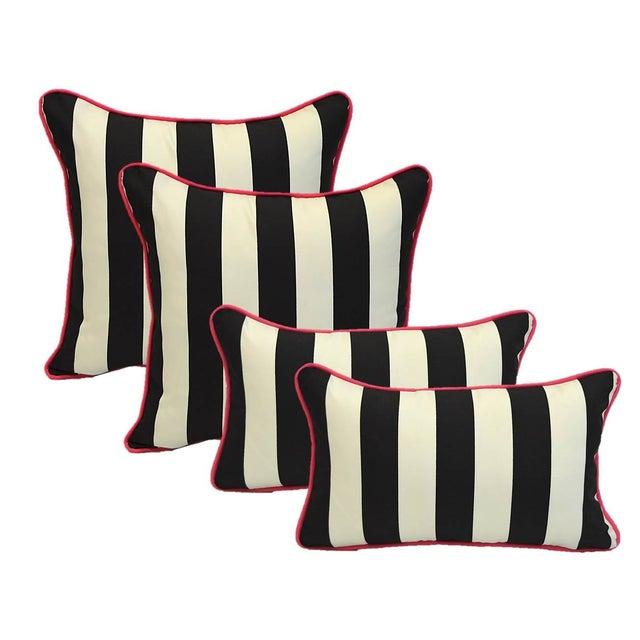 Black White Stripe Pink Cording Pillows - Set of 4 - Image 1 of 2