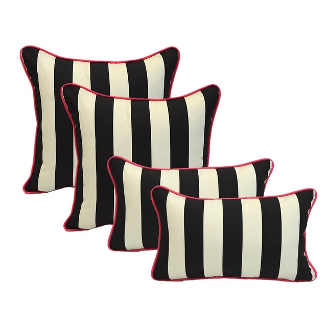 Image of Black White Stripe Pink Cording Pillows - Set of 4