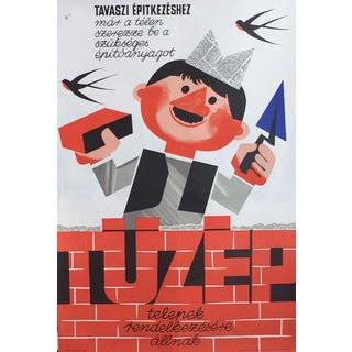 1966 Vintage Hungarian Building Poster