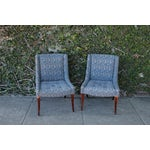 Image of Retro Fabric Side Chairs - A Pair