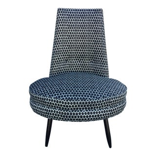 Charcoal Grey and White Mid Century Modern Chair