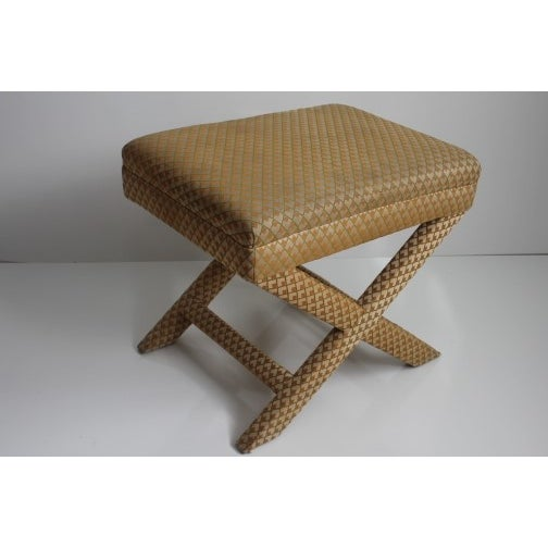 Image of Mid-Century Hollywood Regency X-Leg Bench