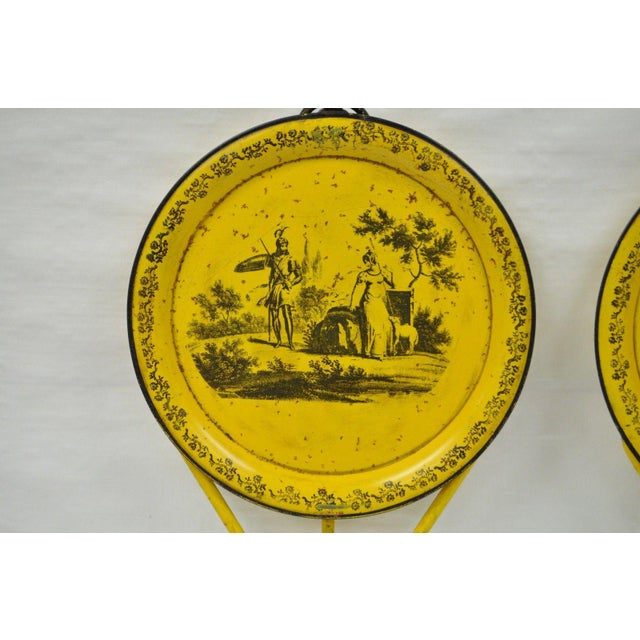 Pair of Vintage Italian Neoclassical Tole Metal Folding Side Tables Yellow Courting - Image 5 of 11