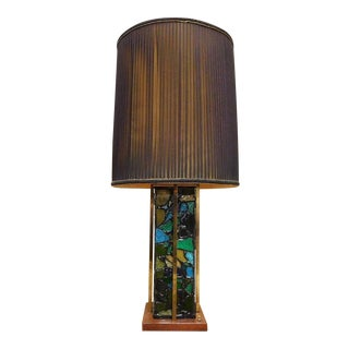 Mid-Century Brutalist Stained Glass & Brass Lamp