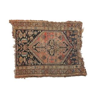 "Antique Tattered Malayer Square Rug - 3'5"" x 4'3"""