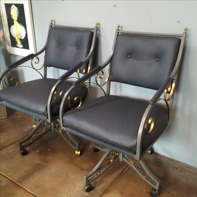 Image of Hollywood Regency Office Chairs - A Pair