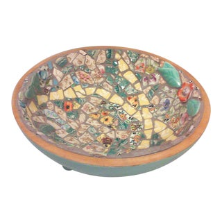 Hand Crafted Mosaic Footed Oval Bowl