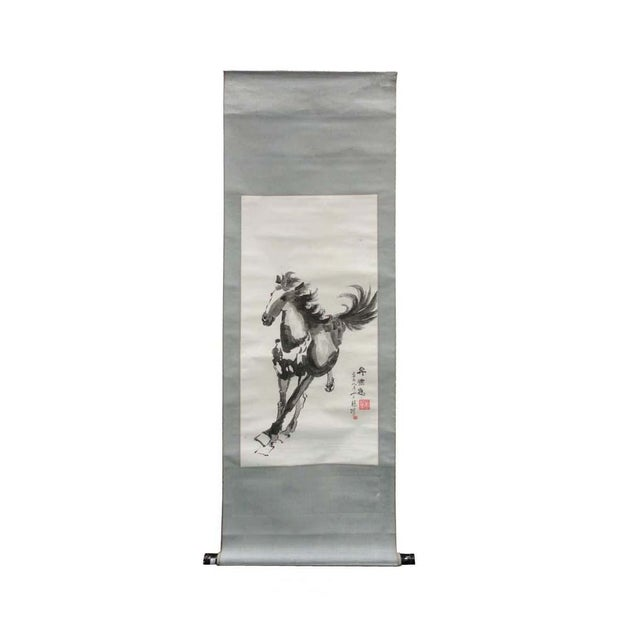 Reproduction Master Art Works Running Horse Scroll - Image 1 of 4