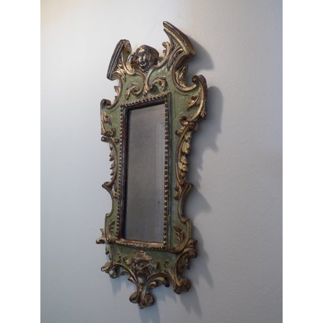 Vintage Rococo Green & Gold Gilt Carved Wood Mirror - Image 6 of 11