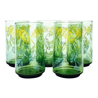 Vintage Green Leaf Tumblers - Set of 5