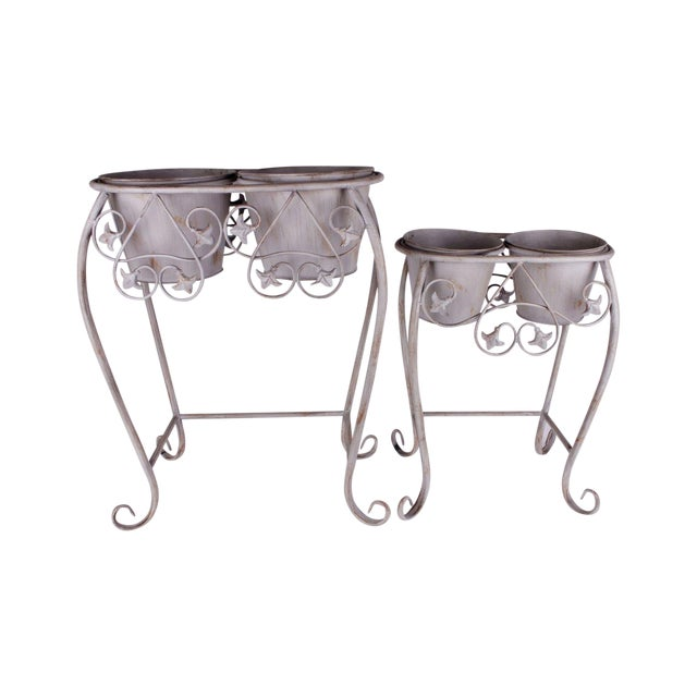 Vintage Wrought Iron Iron Plant Stand - Pair - Image 1 of 6