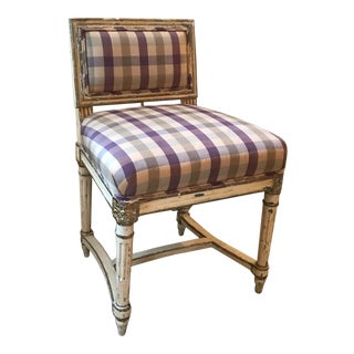 Painted Wooden Chair with Silk Check Upholstery
