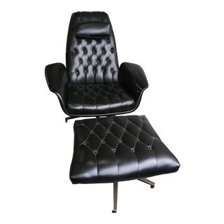 Mid-Century Modern Black Vinyl Lounge Chair and Ottoman