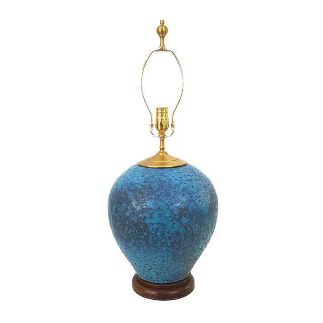 Hollywood Regency Turquoise Pottery Lamp - Image 1 of 6