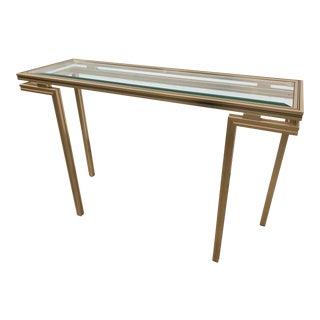 Pierre Vandel Paris Aluminum & Glass Console Table