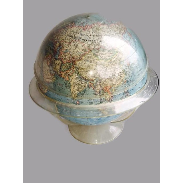Vintage 1960s Tall Lucite Base World Globe - Image 7 of 7