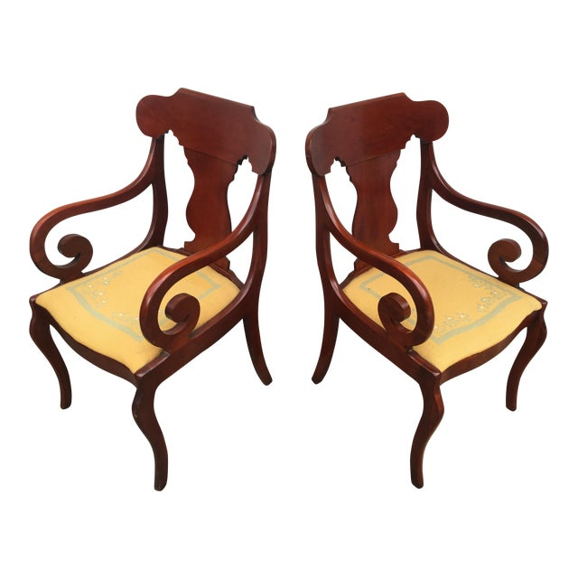 Cherry Arm Chairs - A Pair - Image 1 of 5