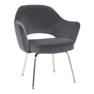 Saarinen Executive Armchair in Gunmetal Grey Velvet