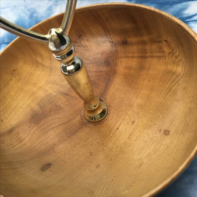 Mid-century Teak Wood Bowl With Brass Handle - Image 3 of 6
