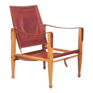 Vintage Kaare Klint Danish Red Leather Safari Chair