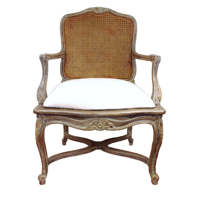 Louis XVI-Style Carved Cane Back Chair - Image 1 of 5