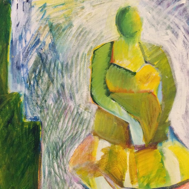 """1984 """"Girl in a Dress"""" Cubist Painting - Image 5 of 7"""