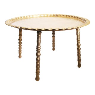 Vintage Moroccan Ornate Brass Charger Coffee Table