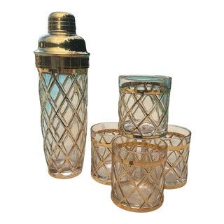 18k Gold Altuzarra Cocktail Shaker & Glasses