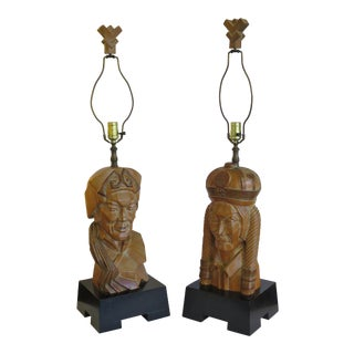 Carved Wood Lamps by Edward Stasack - A Pair