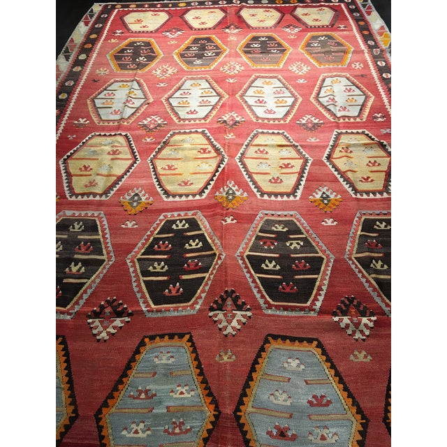 "Vintage Turkish Kilim Rug- 7'7"" x 11'7"" - Image 3 of 8"