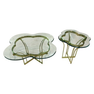 Vintage Brass & Glass Coffee and End Table