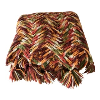 Crochet Knit Throw Blanket in Fall Colors 1970's