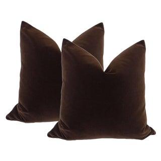 Chocolate Velvet Pillows - A Pair