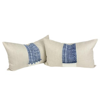 Indigo Batik Linen Pillows - A Pair