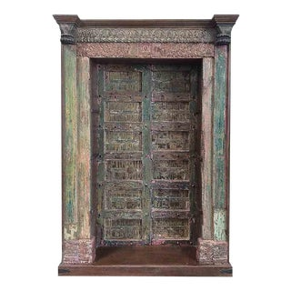 Antique Architectural Pink and Green Door Bookcase