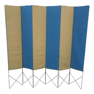 Case Study House Folding Screen in Blue and Yellow