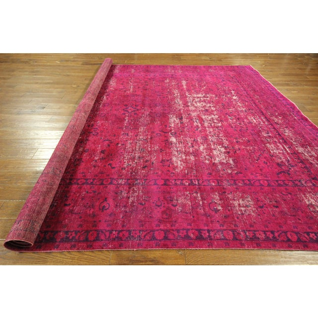 """Pink Overdyed Floral Area Rug - 9'7"""" x 12'2"""" - Image 7 of 10"""
