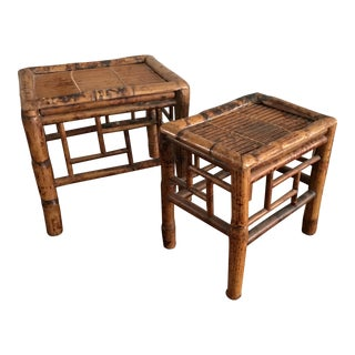 Vintage Asian Handmade Bamboo Tables - A Pair