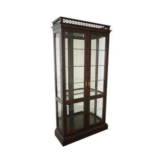 Georgian Style Mahogany Lighted Display Curio Cabinet by Century