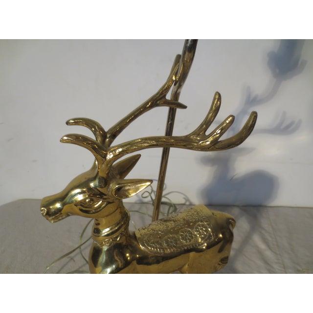 Image of Vintage 70s Brass Reindeer Lamp W/Lucite Base