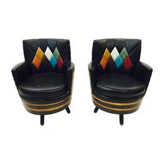 Retro Mid-Century Black Swivel Arm Chairs - A Pair