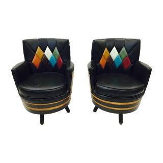 Retro Mid-Century Black Swivel Arm Chairs - A Pair