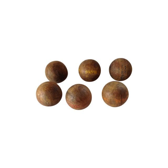 Image of Wood Lawn Balls - Set of 6
