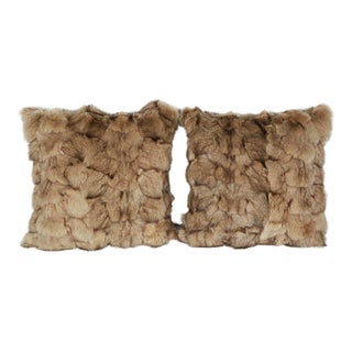 Luxury Fox Fur Throw Pillows in Taupe