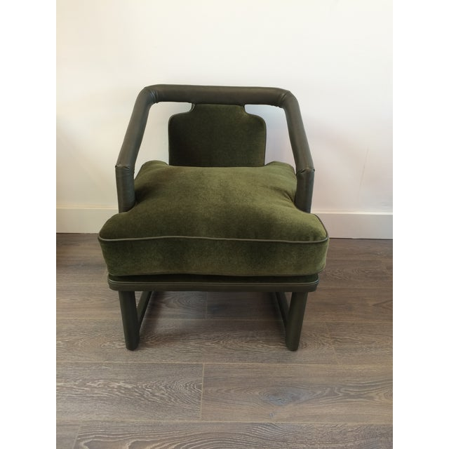 Green Leather & Mohair Lounge Chair - Image 2 of 10